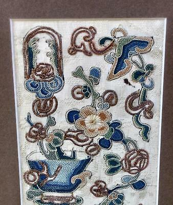 A Fine Pair Of Qing Chinese Silk Embroidered Sleeve Bands Peking Stitch Knot