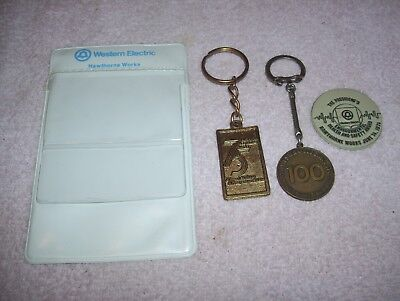 Vtg Western Electric Co. Hawthorne Works Pocket Protector Fridge Magnet Keyrings