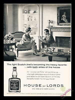 1959 Vintage Print Ad~House of Lords~His and Her Scotch~J500