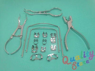 Endo Rubber Dam Starter Kit Clamps Brewer Punch Ivory Plier Dental Instruments
