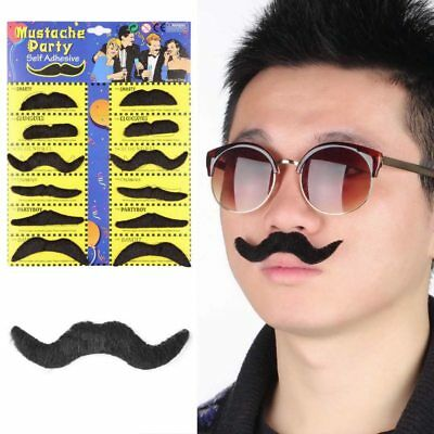 12x FAKE MOUSTACHE SELF ADHESIVE Assorted Mustache Set Fancy Dress Party Stag