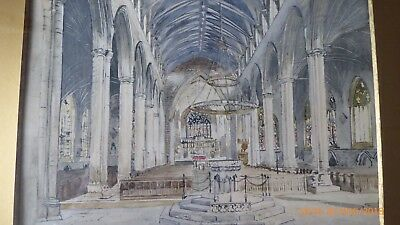 Interesting Watercolour 1925. Interior St Botolphs. Boston, Lincs. Rev Bastow