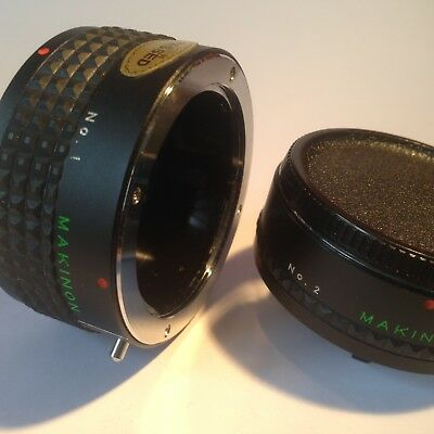 Makinon 2 x Tele Converter Set No 1 and No 2 with Case Vintage 35mm Photography