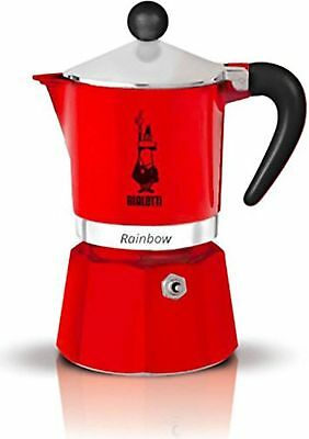 Bialetti Rainbow - Stove Top Espresso Coffee Maker - Red - 3 Cup