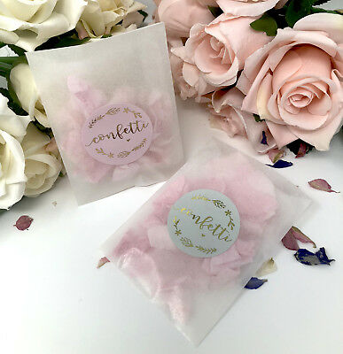 Confetti Wreath stickers & Glassine bags foil rose gold,silver wedding  x 10
