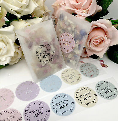 Love is in the air stickers & Glassine bags foil rose gold,silver wedding  x 10