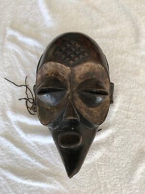 Antique African Tribal Wooden Mask Large 3D Ceremonial Authentic Wood