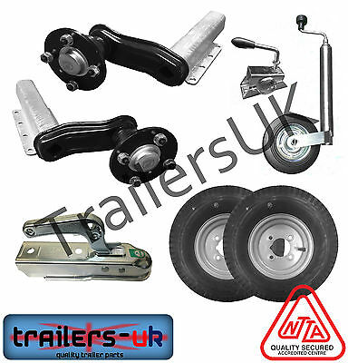 "Unbraked Trailer Suspension Kit 3 - 8"" Wheels, Pressed Hitch, JW - FREE DEL"