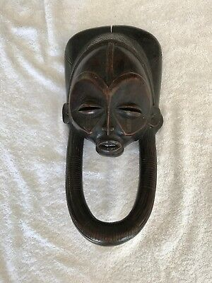 Antique African Tribal Wooden Mask Large 3D Ceremonial Authentic Hard Wood