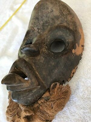 Antique African Bearded Tribal Wooden Mask Small Ceremonial Authentic Vintage