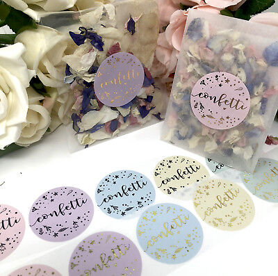 confetti FLORAL stickers & Glassine  or cello bags foil rose gold,wedding x10