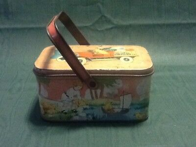 Vintage TINDECO candy tin with handle, Easter theme
