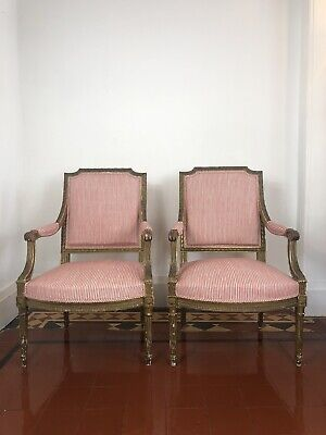 Antique Armchairs / Louis XV / 19th Century New Upholstery
