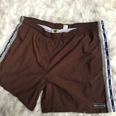 "Body Glove Vintage 90s Mens XL Swim Trunks Brown Netted Short 38"" Waist A6"