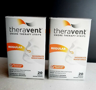 Theravent Snore Therapy Strips - REGULAR - Set of (2) 20 ct = 40 ct EXP 3/2020