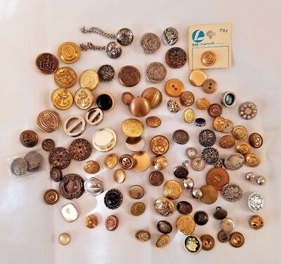 Huge Vintage Metal Buttons Lot 100 Pc Buffalo Nickel, Anchors, Crowns, Military
