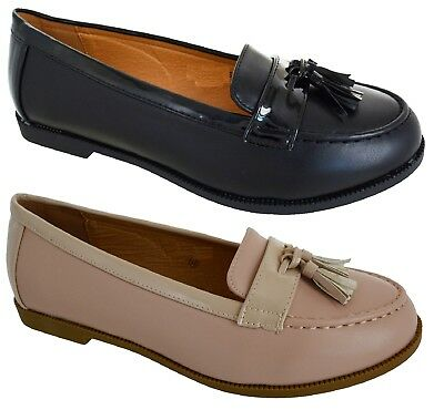 Ladies Womens Large Big Sizes Flat Smart Work Tassel Loafers Shoes Size 8-11 New
