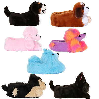 Loungeable Womens 3D Dog Slippers Teen Girl Novelty Plush Animal Indoor Shoes