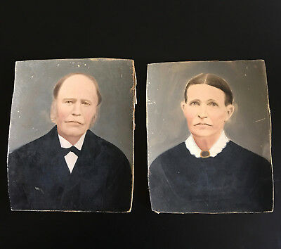 REDUCED: ANTIQUE Circa 1870's Pair of PASTEL PORTRAITS ~ Early American~Unframed