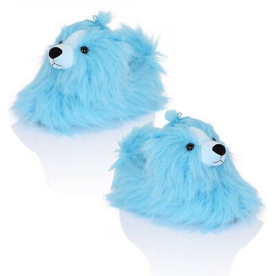 Loungeable Womens Peppy Pekinese 3D Dog Slippers Novelty Blue Fluffy Indoor Shoe