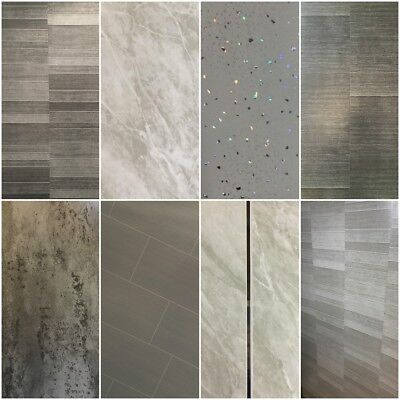 Grey Panels, Tile Effect Cladding, Sparkle Bathroom Shower Wall Panels PVC