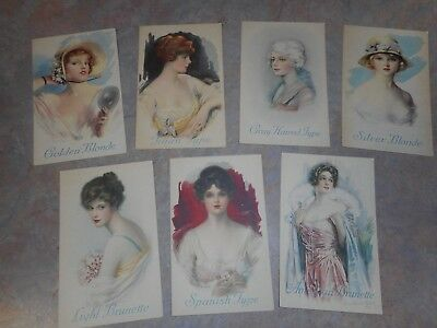Vintage Djer-Kiss Rouge & Compacts Advertising Trade Card Lot Of 7 Different