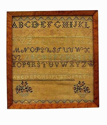 Antique American Needlepoint Cross Stitch Alphabet Sampler Framed