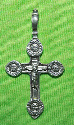 Vintage Crucifix 925 Silver Cross Pendant Orthodox Crosses Collecting #107