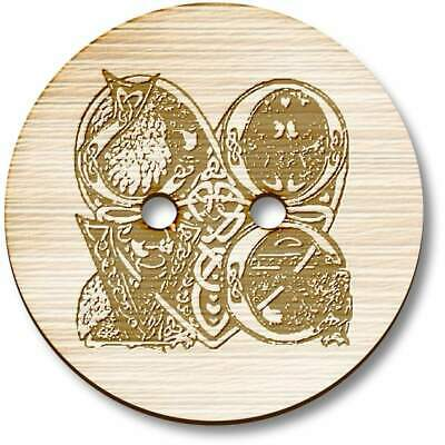 LUXURY WOODEN BIRD BUTTONS BIRDS ON BRANCH,UK EXTRA LARGE 40mm ROUND NATURAL