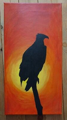 Hand drawn and painted Bird/Eagle Sunset Canvas