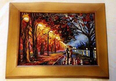 NEW Unique Painting On Canvas with Imbedded Amber Stones Walk Under Rain
