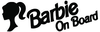 Barbie on Board Vinyl Decal Sticker - various colours