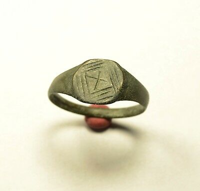 Nice Medieval Bronze Ring With Cross On Bezel - Wearable