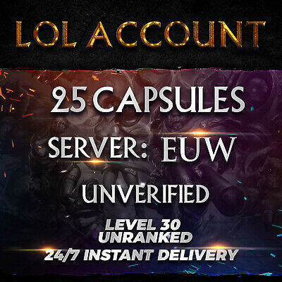 League of Legends Account EUW LOL Smurf 25 Capsules Unranked Level 30 PC