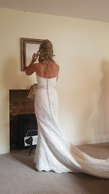 Brand New White Rose R704 Designer Lace Wedding Dress Uk12
