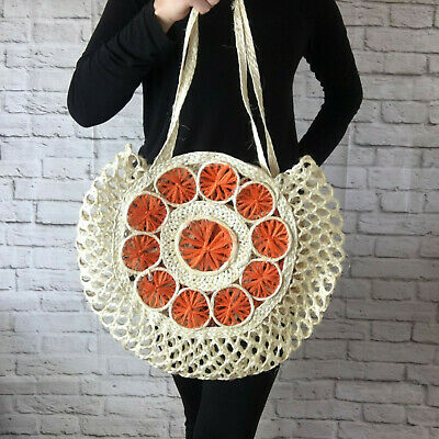 Mexican Ixtle Tote Bag Handmade Natural Maguey Orange Beige Beach Bag Reusable