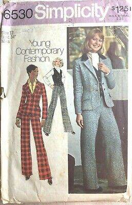 Vintage 1970s PANTSUIT Simplicity Sewing Pattern #6530 Size 12/34 Used    E