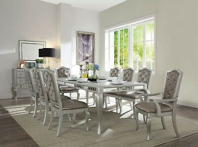 New Zander Formal Metallic Champagne Silver Wood Mirror Leather Dining Table Set