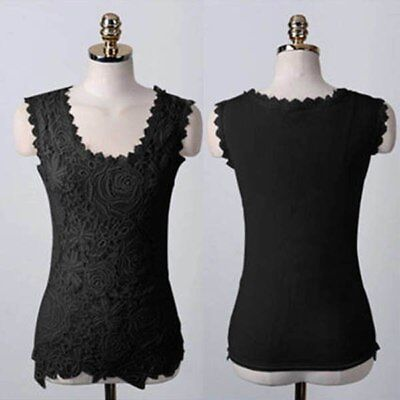 CASUAL Sleeveless Lace Blouse Top Black White Plus Size GIRLS AGE 9 10 12 13 14