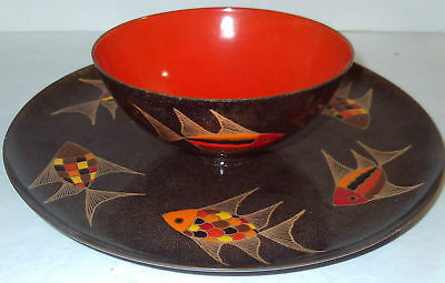 Signed MIGUEL PINEDA Mexico ENAMEL MidCentury Modern FISH Serving Platter & Bowl