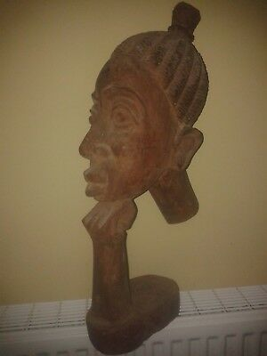 Large African Carving. Female Wooden Bust. Balancing Head