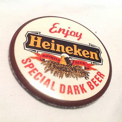 Vintage Enjoy Heineken Imported Beer Special Dark Beer Button Pin