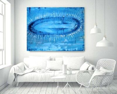 """BLUE LAGOON""  EXTRA LARGE modern abstract painting in ACRYLICS 100 x 120 X 4cm"