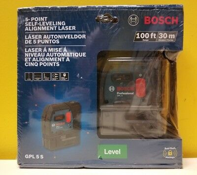 Bosch GPL 5 S 5-Point Self-Leveling Alignment Laser- 100 ft Range. Sealed Box