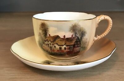 Royal Worcester Cabinet Cup And Saucer Ann Hathaway's Cottage 1920