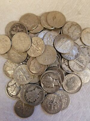 Roll of (50) Mixed Roosevelt / Mercury dimes , 90% silver, various dates.