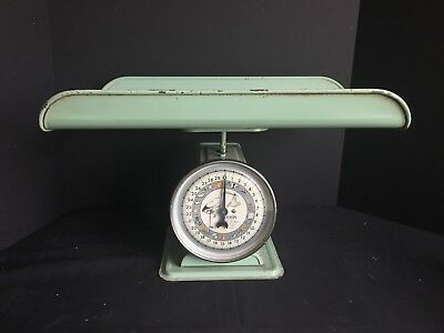 Vintage Hanson Model 3025 Nursery Scale Mint Green with Stork and Baby