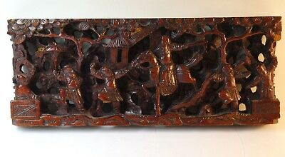 Vintage Deeply  Hand Carved Chinese Wood Panel/plaque / Very Detailed/ Warrior