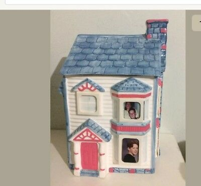 "1993 Victorian House Cookie Jar Blue Roof Ceramic Hand Painted 11"" Internation"