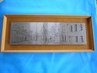 Vintage HAND PRODUCED STAINLESS STEEL PICTURE of Church Street in AYLESBURY